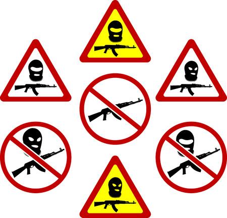 warning signs of terrorism. vector illustration Vector