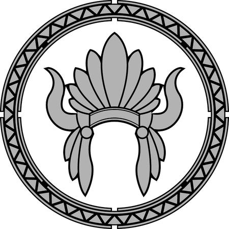 Americano nativo copricapo indiano. seconda variante. illustrazione vettoriale Vettoriali