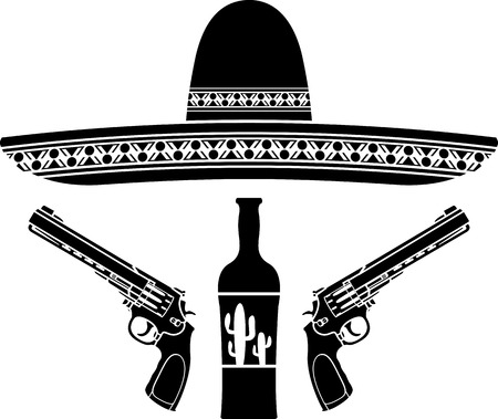 tequila, sombrero and two pistols. stencil. vector illustration