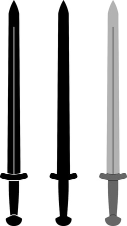 variant: medieval sword. fourth variant. stencil and silhouette. vector illustration Illustration