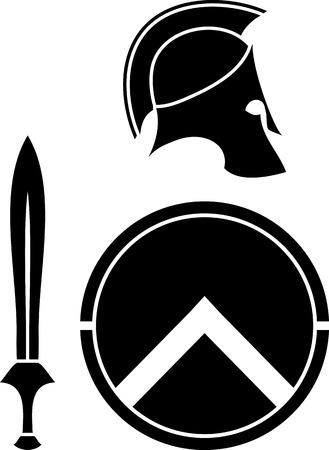 Spartani casco, spada e scudo. stencil. illustrazione vettoriale Vettoriali