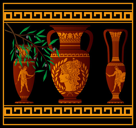 patrician: ancient amphora and jugs. illustration Illustration