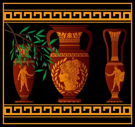 patrician: ancient amphora and jugs. illustration Illustration