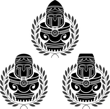 pedestals of medieval helmets. stencils. second variant. illustration Vector