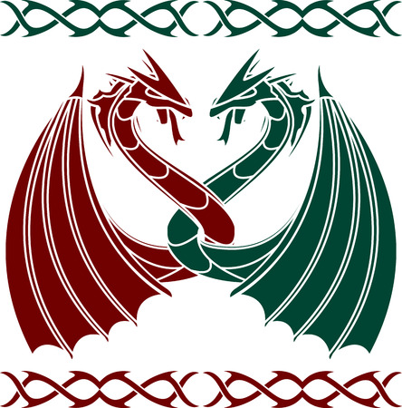 celtic culture: dancing dragons. stencil. vector illustration