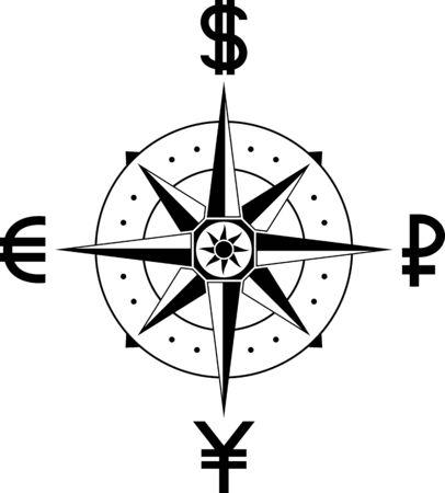 currencies: compass of currencies. vector illustration Illustration