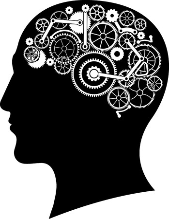 concentration gear: head with gear brain. vector illustration