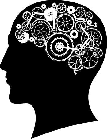 head gear: head with gear brain. vector illustration