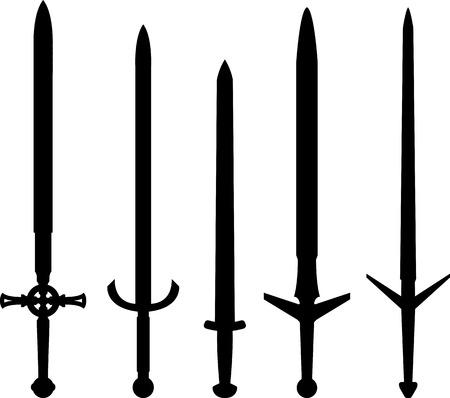 espadas medievales: siluetas de espadas medievales. ilustraci�n vectorial