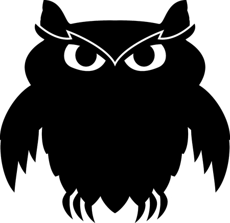 fearsome: black owl. vector illustration