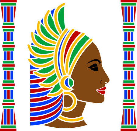 cleopatra: african woman profile. vector illustration