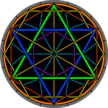hexagram: color magic hexagram. vector illustration