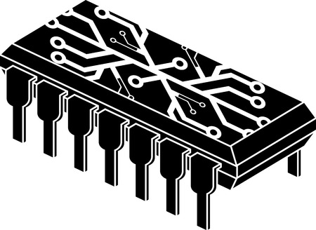 microprocessors: stencil of chip with electronic pattern. vector illustration