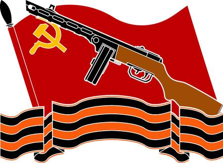 soviet flag: soviet flag, machine gun and georgievsky ribbon. stencil. vector illustration Illustration