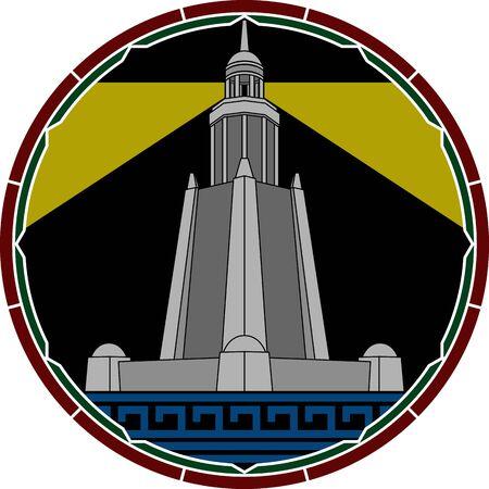 ancient civilization: lighthouse of alexandria. second variant. vector illustration