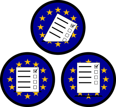 inserting: signs of voting in EU. vector illustration