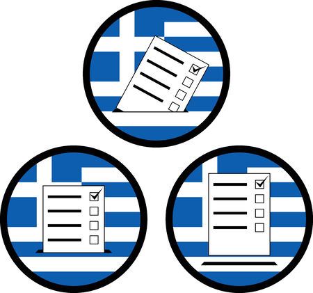 grecian: signs of voting in greece. vector illustration