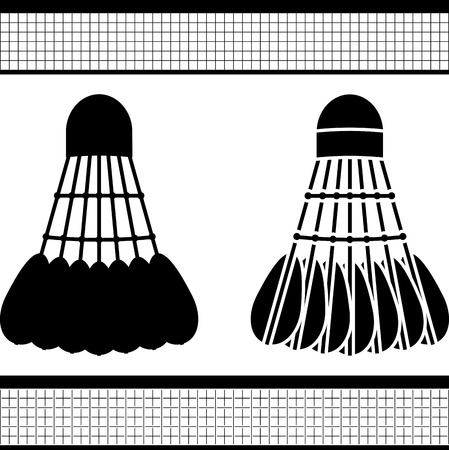 shuttlecock: badminton shuttlecock. silhouette and stencil. vector illustration