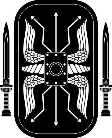 gladius: fantasy roman shield and swords. vector illustration Illustration