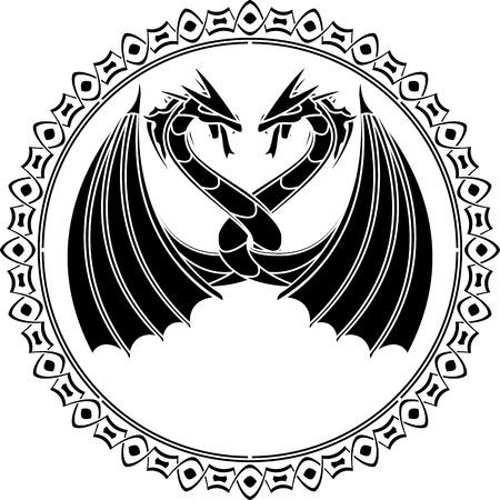 vikingo: bailar dragones en el ring. stencil. ilustración vectorial