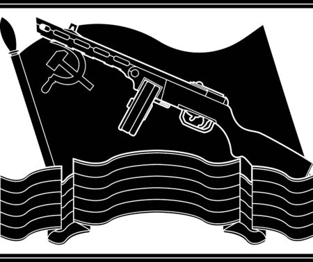 9th: stencil of soviet machine gun and flag. vector illustration