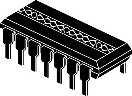 micro chip: stencil of chip with pattern. vector illustration Illustration