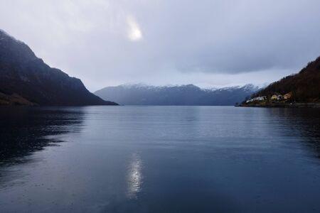scandinavian landscape: norwegian fjord Stock Photo
