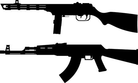 guns: Silhouettes of soviet machine guns. vector illustration