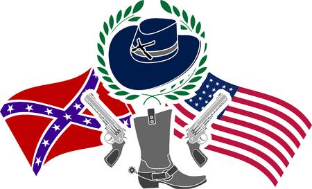 sixth: American civil war. stencil. sixth variant. vector illustration
