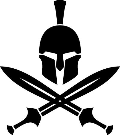weapons: Ancient hellenic helmet and swords. stencil. vector illustration