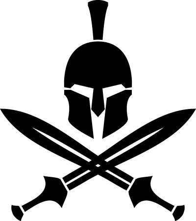 cascos romanos: Casco hel�nico antiguo y espadas. stencil. ilustraci�n vectorial Vectores