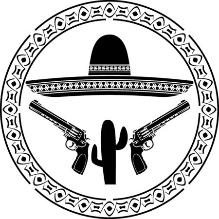 latin americans: Stencil of mexican sombrero and two pistols. second variant. vector illustration Illustration