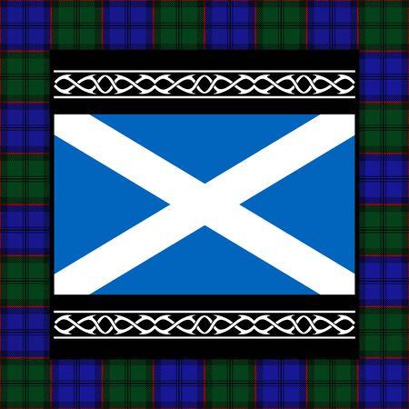 scotland flag: flag of scotland with tartan. vector illustration Illustration