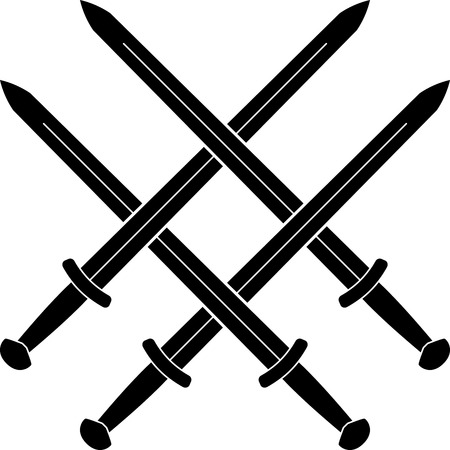 sword fight: Knot from medieval swords. stencil. vector illustration Illustration