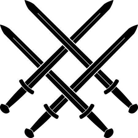 espadas medievales: Nudo de espadas medievales. stencil. ilustraci�n vectorial