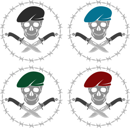 military beret: Set of symbols of special forces. vector illustration