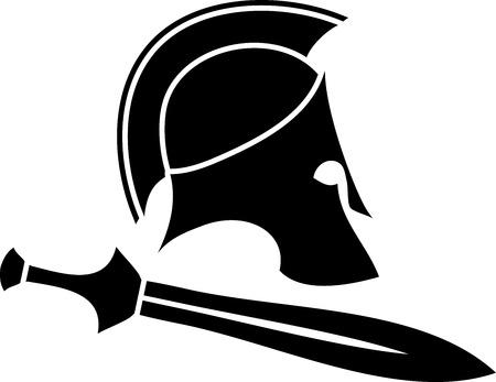 raster: ancient helmet with sword 2. raster version Stock Photo