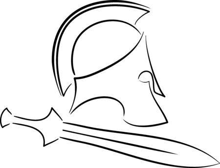 centurion: ancient helmet with sword 3. raster version Stock Photo