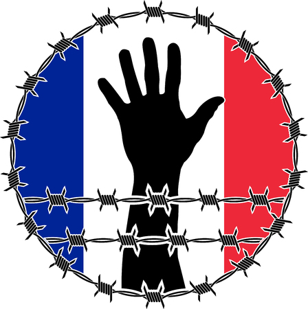 confinement: violation of human rights in France. raster variant Stock Photo
