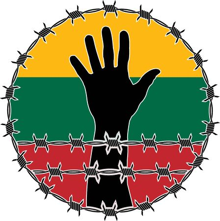 confinement: violation of human rights in Lithuania. raster variant