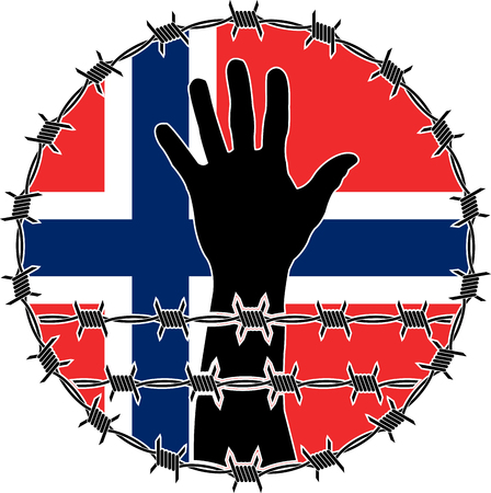 victim war: violation of human rights in Norway. raster variant Stock Photo
