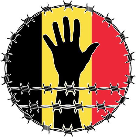 victim war: violation of human rights in Belgium. raster variant
