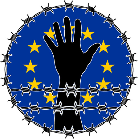 confinement: violation of human rights in EU. raster variant