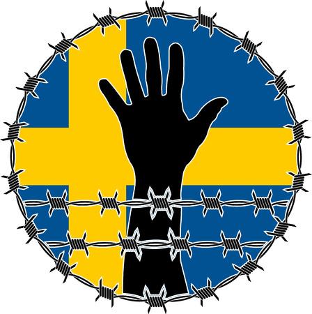 victim war: violation of human rights in Sweden. raster variant