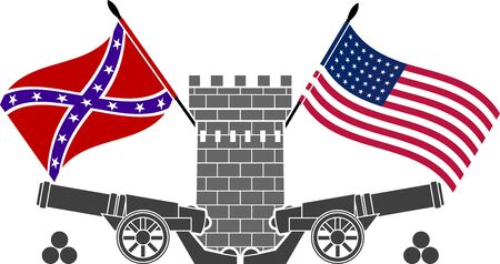 american civil war. stencil. eighth variant. vector illustration