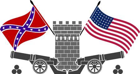 banderas america: guerra civil americana. plantilla. octava variante. ilustración vectorial Vectores