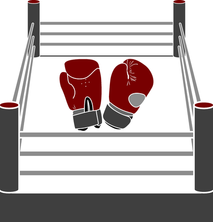 gloves: boxer ring with gloves. stencil Illustration