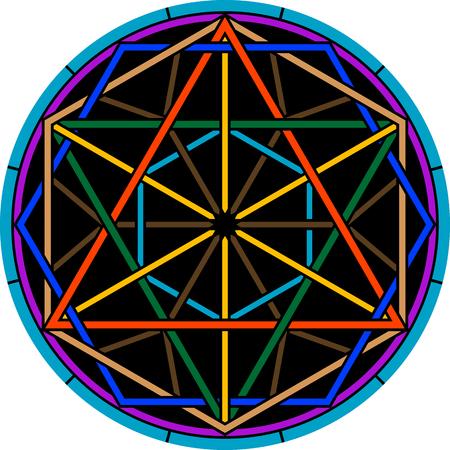 mystical: color magic hexagram. second variant. vector illustration Illustration