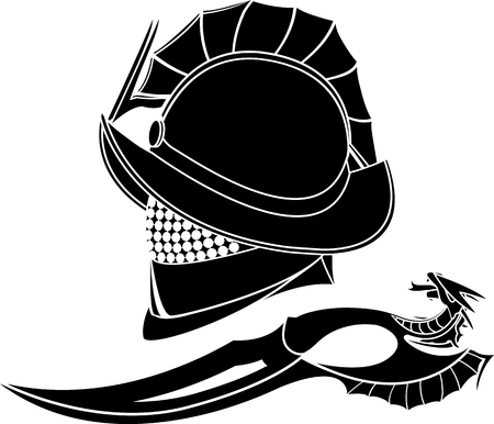 vector art: gladiators helmet and knife. stencil