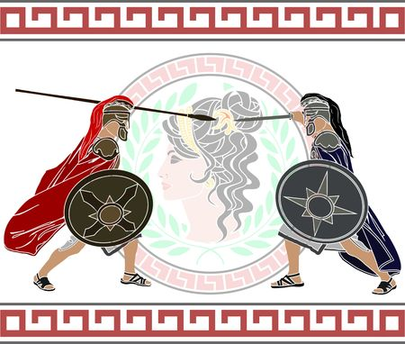spearman: trojan war. fourth variant. vector illustration